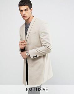 Строгое пальто скинни с лацканами наклонной формы Noak - Бежевый