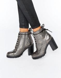 Массивные кожаные полусапожки на каблуке со шнуровкой Office Ammo - Серебряный