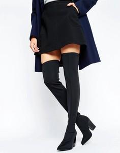Эластичные сапоги-ботфорты на каблуке Office Harlow - Черный