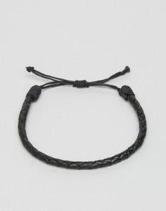 Черный кожаный браслет Jack & Jones Jacross - Черный