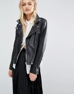 Кожаная байкерская куртка Just Female - Черный