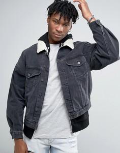 Черная свободная джинсовая куртка с меховым воротником ASOS - Черный