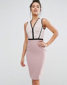 Платье-футляр с кружевным лифом и вставками Vesper - Фиолетовый