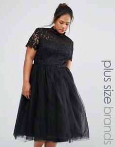 Платье миди с кружевным лифом Chi Chi London Plus - Черный