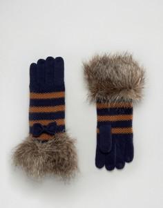 Перчатки в полоску с меховой отделкой Alice Hannah - Мульти