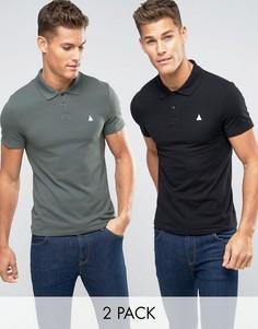 Набор из 2 футболок-поло черного и зеленого цвета ASOS, СКИДКА 13 - Мульти