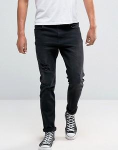 Серые джинсы скинни с рваной отделкой и нашивками Hoxton - Серый