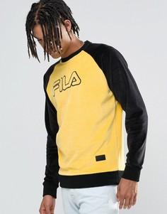 Черный велюровый свитшот Fila - Желтый