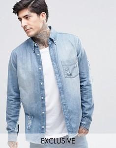 Умеренно выбеленная рубашка с прорехами Brooklyn Supply Co - Синий