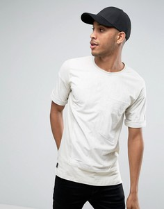 Oversize-футболка из искусственной замши с большим карманом Black Kaviar - Бежевый
