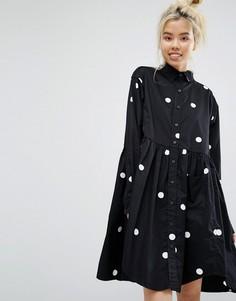 Свободное платье-рубашка в крупный горошек Lazy Oaf - Черный
