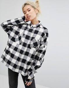 Рубашка в клетку со сплошной отделкой в виде медведей Lazy Oaf - Черный