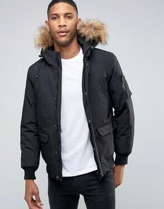 Дутая куртка с отделкой из искусственного меха на капюшоне Only & Sons - Черный