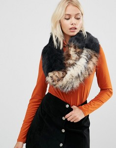 Свободный широкий шарф-снуд из искусственного меха Urbancode - Черный