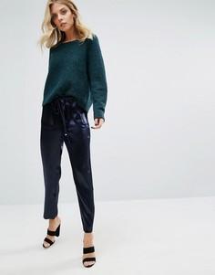 Атласные брюки с затягивающимся шнурком J.O.A - Темно-синий