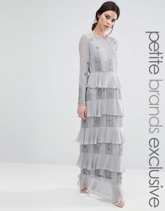 Платье макси с длинными рукавами и ярусными оборками Maya Petite - Серебряный