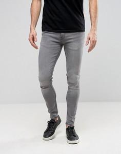 Супероблегающие джинсы с рваными коленями Ringspun - Серый