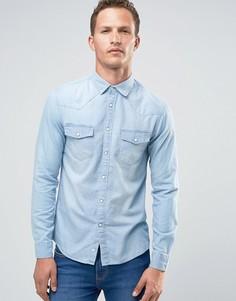 Джинсовая рубашка узкого кроя с длинными рукавами Celio - Синий