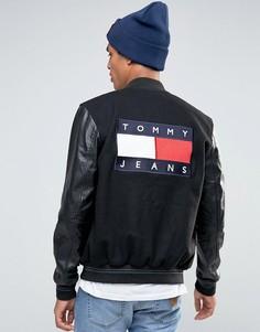 Университетская куртка-пилот с рукавами из искусственной кожи Tommy Jeans - Черный