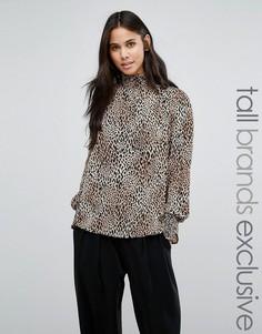 Блузка с высокой горловиной и животным принтом Y.A.S Tall Illu - Мульти