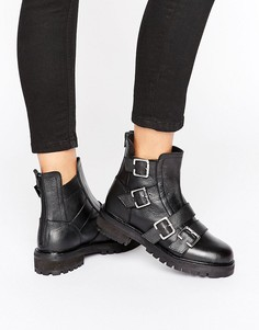 Ботинки на массивной плоской подошве с пряжками Park Lane - Черный