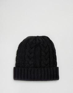 Черная шапка-бини крупной вязки 7X - Черный