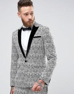 Черно-белый жаккардовый пиджак с узором в стиле барокко ASOS - Мульти