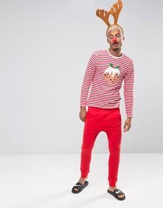 Новогодняя пижама в полоску SSDD - Красный