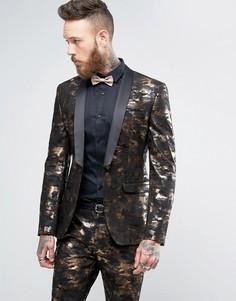 Супероблегающий пиджак-смокинг с камуфляжным принтом бронзового цвета ASOS - Золотой