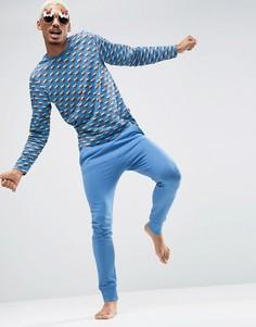 Новогодняя пижама со сплошным принтом SSDD - Синий