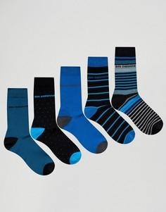 Подарочный набор из 5 пар носков в синих тонах Ben Sherman - Темно-синий