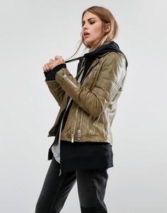 Кожаная байкерская куртка в винтажном стиле Goosecraft - Коричневый