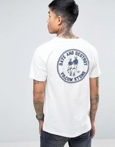 Белая футболка с принтом на спине Volcom Dater BSC - Белый
