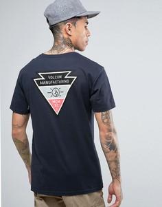Темно-синяя футболка с принтом на спине Volcom Appointed - Темно-синий