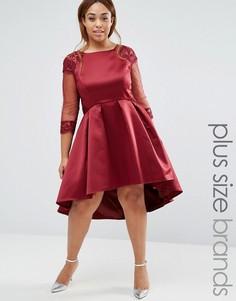 Платье с длинными рукавами для выпускного Chi Chi London Plus - Красный