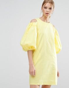 Желтое платье с вырезами на плечах Style Mafia - Желтый