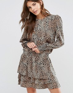 Платье с леопардовым принтом Y.A.S - Коричневый