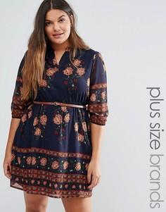 Платье с цветочным принтом по краю и поясом Yumi Plus - Темно-синий