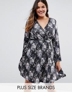 Платье с юбкой в складку и цветочным принтом Praslin Plus - Черный