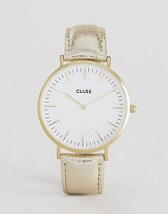 Часы с кожаным ремешком цвета металлик CLUSE La Boheme CL18421 - Золотой
