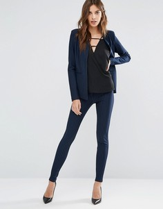 Суперзауженные брюки в тонкую полоску Y.A.S Penno - Темно-синий
