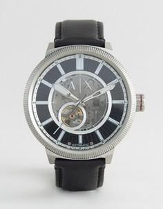 Часы с черным кожаным ремешком Armani Exchange AX1418 Automatic - Черный