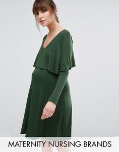 Двухслойное платье для беременных и кормящих мам Bluebelle Maternity - Зеленый