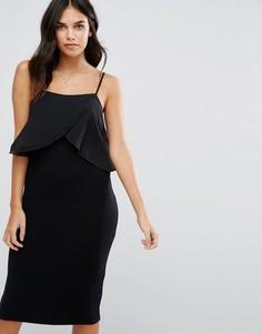 Трикотажное платье с шифоновой отделкой Love - Черный