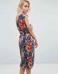 Платье с V-образным вырезом сзади и цветочным принтом в стиле ретро Trollied Dolly Chic - Темно-синий