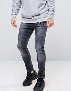 Черные супероблегающие джинсы с байкерской отделкой ASOS - Черный