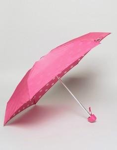 Компактный зонт с принтом губ на внутренней стороне Lulu Guinness - Черный