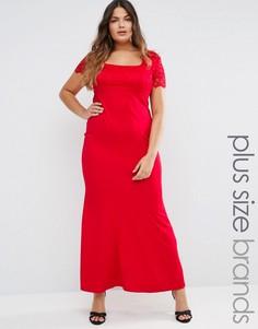 Платье макси с кружевными рукавами Goddiva Plus - Красный