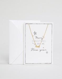 Ожерелье с подарочной открыткой Orelia Merry Christmas - Золотой