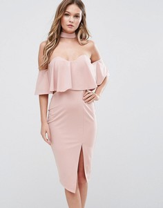 Платье миди с открытыми плечами и горловиной-чокер Ginger Fizz - Розовый